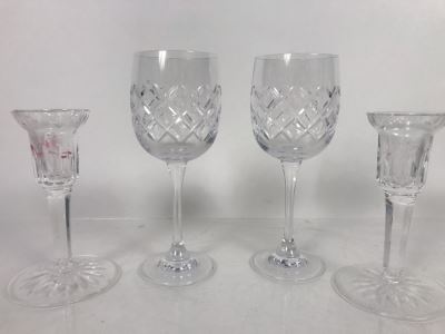 JUST ADDED - Waterford Crystal Lot With (2) Stemware Glasses And Pair Of Candlesticks