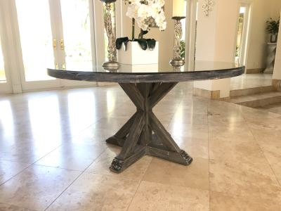 Round Wooden Pedestal Table In Grey Tone Finish With Glass Top By South Cone Home 5'R X 31'H