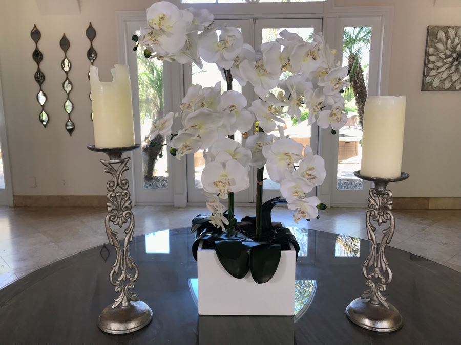 Home Decor Lot With Artificial Orchids Plants And Pair Of Silver Metal Candle Holders [Photo 1]