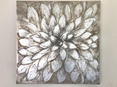 Silver Tone Floral Canvas Print 29.5' X 29.5'