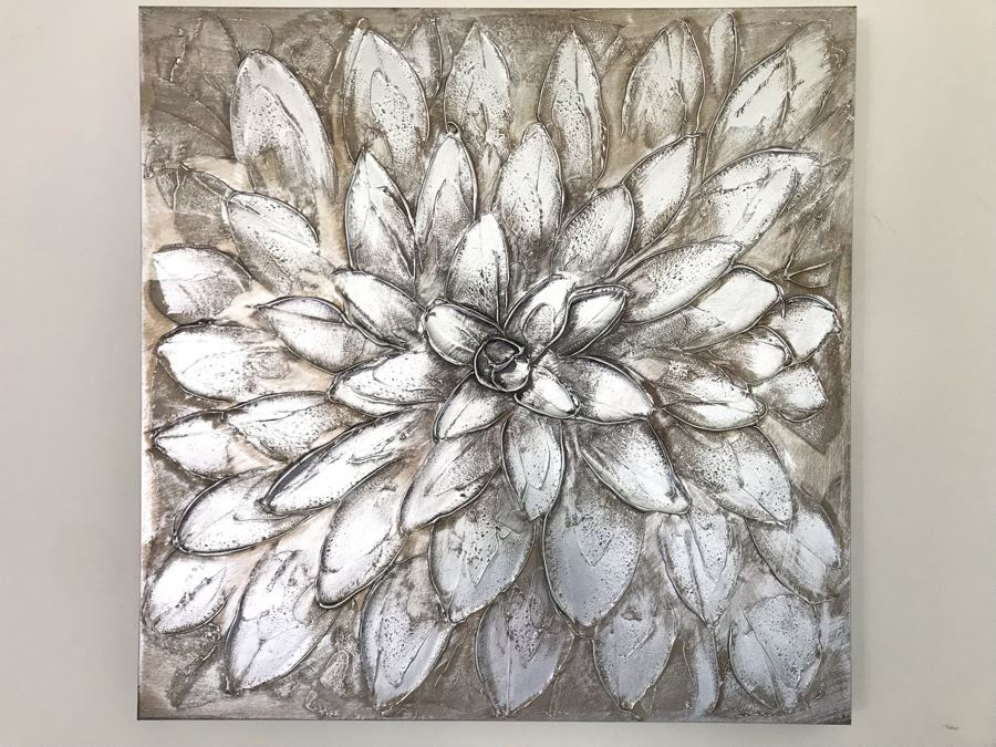 Silver Tone Floral Canvas Print 29.5' X 29.5' [Photo 1]