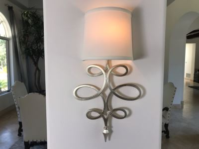 Set Of (4) Silver Tone Metal Lighting Wall Sconces With Shades Ea. 20'L X 11'W - See Photos