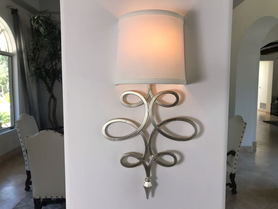 Set Of (4) Silver Tone Metal Lighting Wall Sconces With Shades Ea. 20'L X 11'W - See Photos [Photo 1]