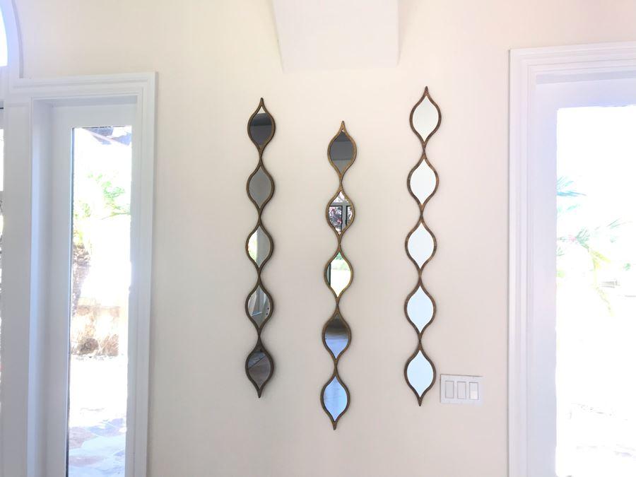 Set Of (3) Designer Ornamental Wall Mirrors 50'L [Photo 1]