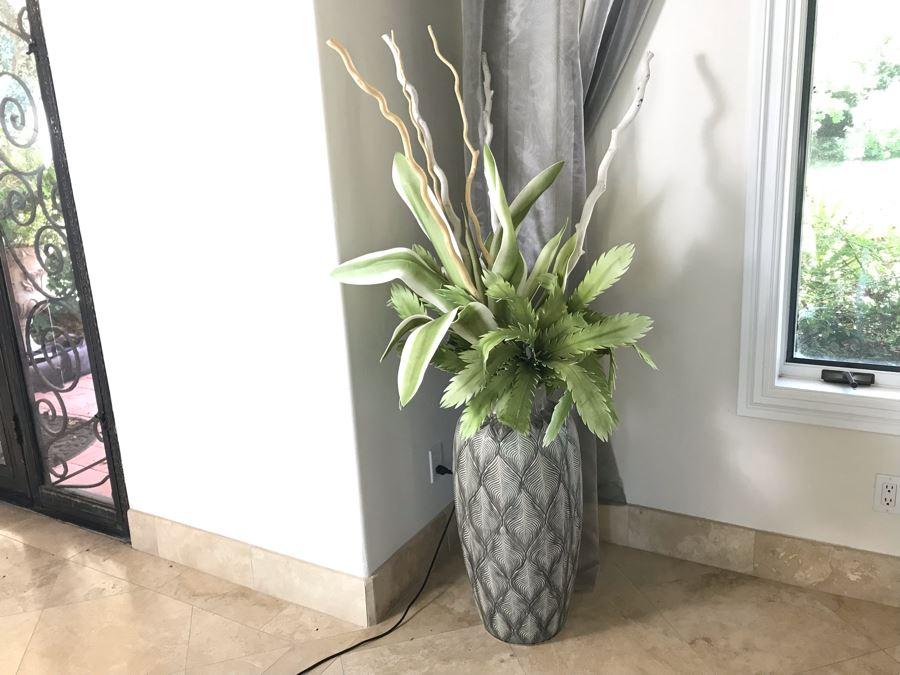 Large Decorative Flower Pot With Artificial Floral Arrangement [Photo 1]