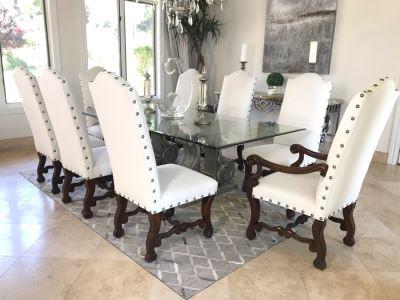 Set Of (8) Upholstered Wooden Dining Chairs (Some Fabric Staining) - Does Not Include Glass Table