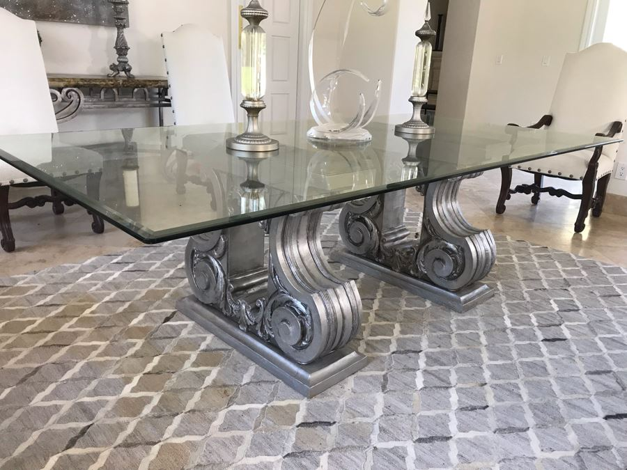 Silver Tone Dining Table Base With Beveled Glass Table Top 8' X 4' [Photo 1]
