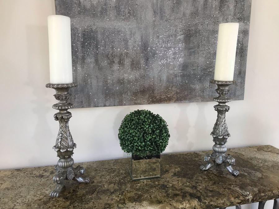 Home Decor Lot With Pair Of Ornate Silver Candle Holders 21'H And Artificial Plant [Photo 1]