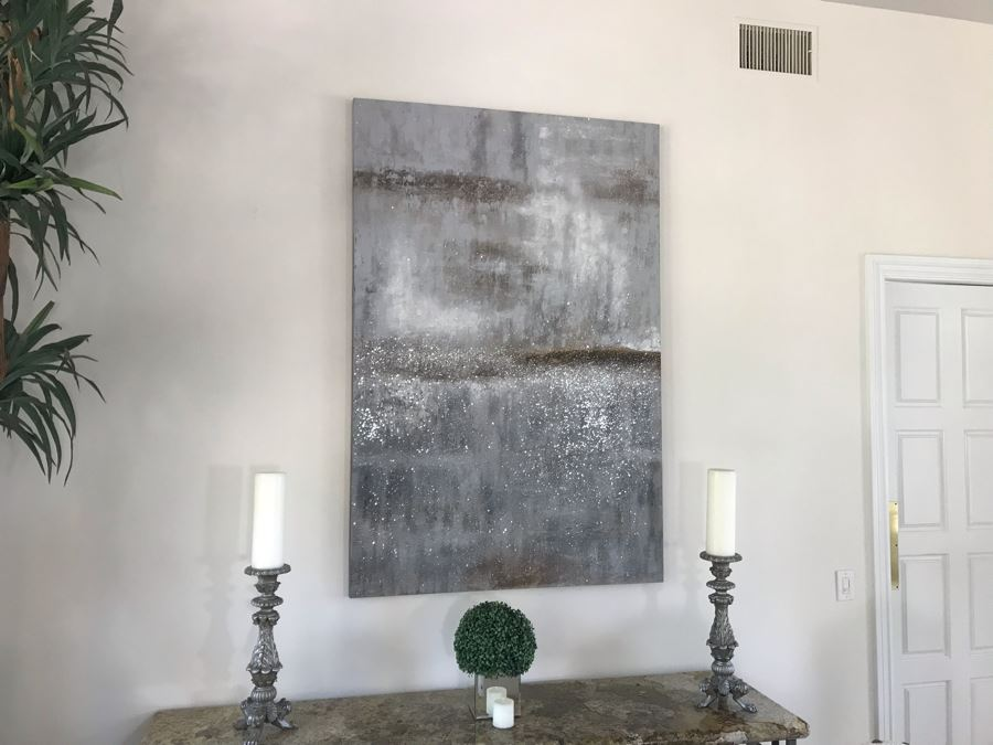 Large Abstract Silver Tone Canvas Print 4' X 6' [Photo 1]