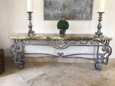 Large Console Entry Table With Thick Marble Top And Ornate Metal Silver Base 91'W X 21.5'D X 33'H