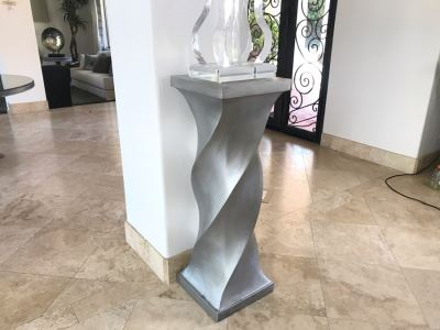 Silver Tone Twist Design Pedestal Table Sculpture Stand 42'H X 14' X 14'