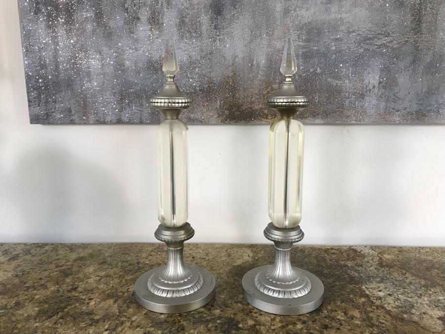 Pair Of Heavy Glass Ornamental Objects Silver Tone 21'H X 7'W [Photo 1]