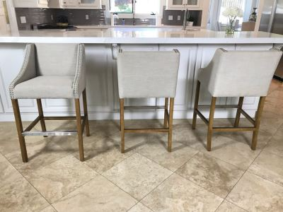Set Of (3) Modern Upholstered Bar Stools (Some Fabric Staining)