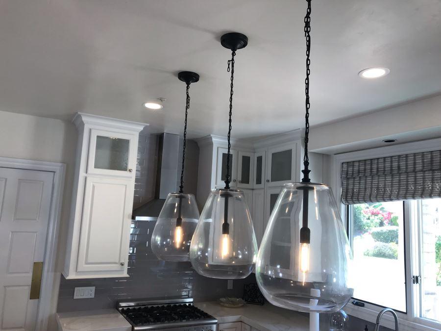 Set Of (3) Hanging Pendant Glass Bulb Light Fixtures [Photo 1]