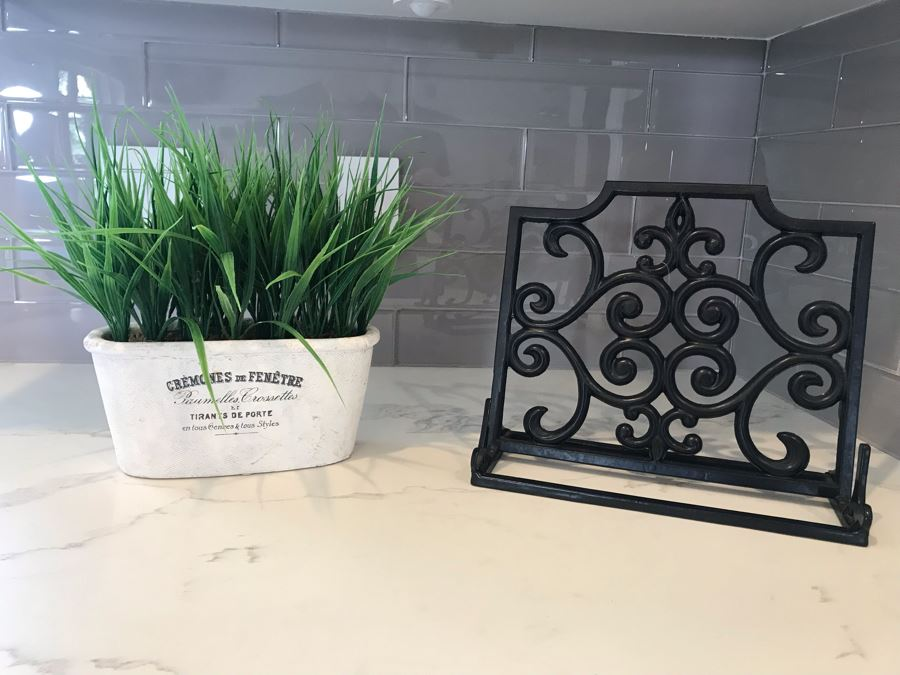 Metal Cookbook Book Stand And Artifical Flowers
