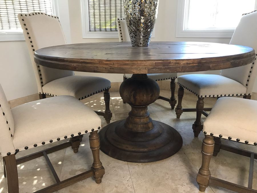 Nice Turned Wooden Pedestal Table 5'R X 31.5'H With (5) Upholstered Dining Chairs And Geometric Mosiac Glass Vase (Fabric On Chairs Have Some Staining) [Photo 1]