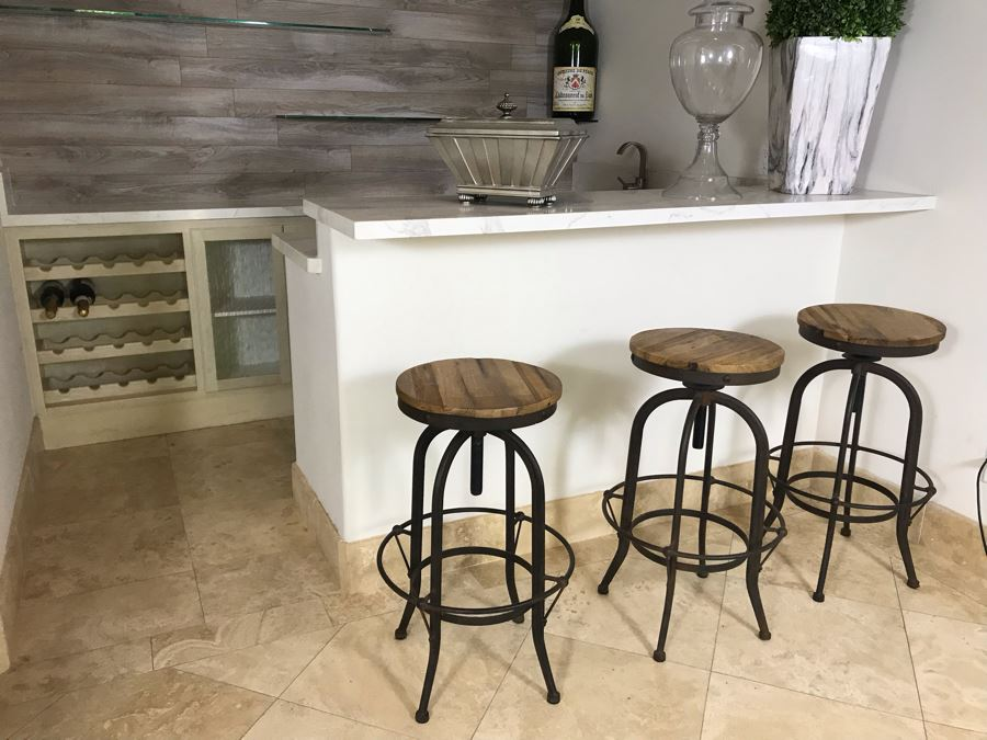 Set Of (3) Industrial Metal And Wooden Bar Stools 18'W X 29'H [Photo 1]