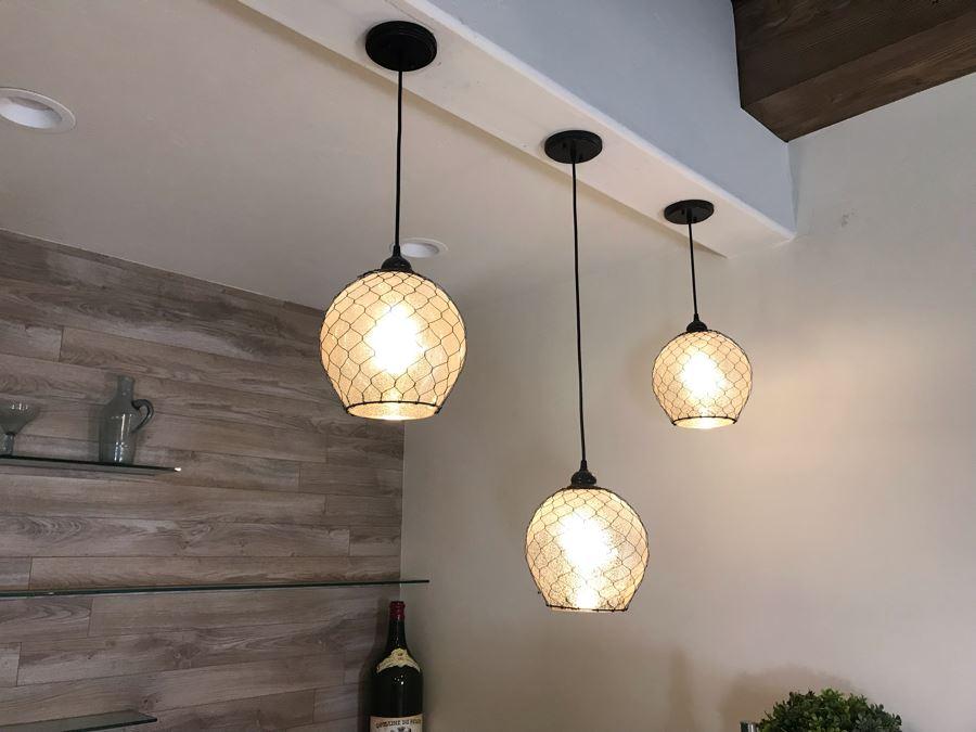Set Of (3) Hanging Pendant Light Fixtures [Photo 1]