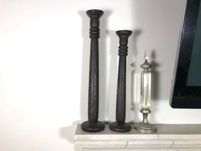 (2) Large Tooled Leather Wrapped Candle Holders And Decorative Glass Object - Larger Is Candle Holder 35'H