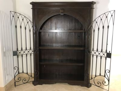 Large Wooden Cabinet With (4) Shelves And Arched Wrought Iron Gate Doors 8'H