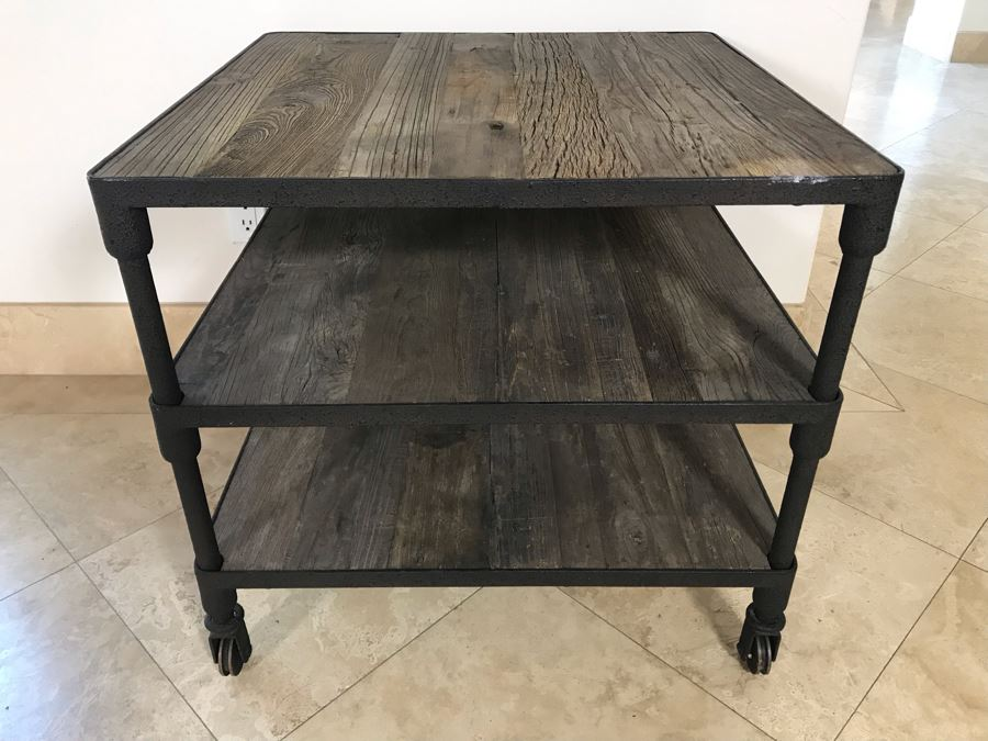 Industrial Wood And Metal Table Cart With Metal Casters 3-Shelves 27.5' X 27.5' X 25.5'H [Photo 1]