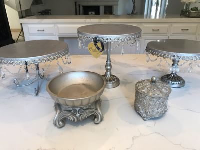 (3) Footed Silver Plate Stands, Silver Lidded Box And Silver Tone Bowl