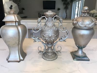 (3) Silver Decorative Objects 15'H
