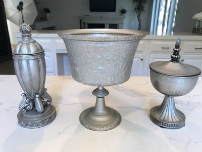 (3) Decorative Silver Tone Objects 12'H