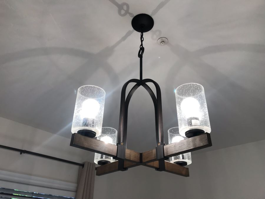 Wood And Metal Contemporary Hanging Light Fixture