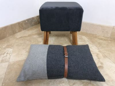 Upholstered Stool With Wooden Legs And Designer Throw Pillow With Belt