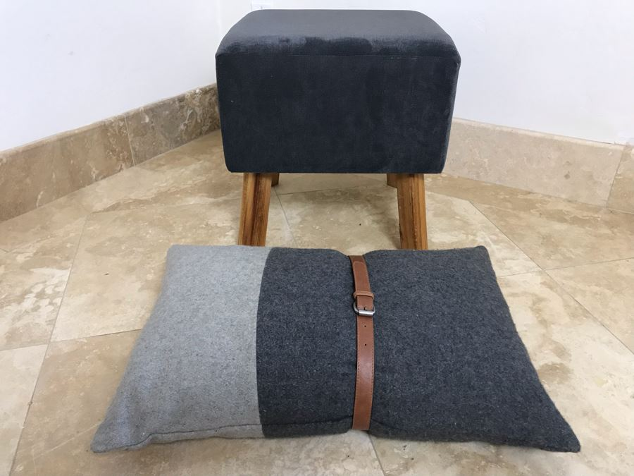 Upholstered Stool With Wooden Legs And Designer Throw Pillow With Belt [Photo 1]