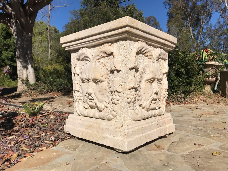 Massive Relief Carved Marble Stone Planter Bacchus God Of Wine Relief Carvings On All Four Sides 26'H X 22'W [Photo 1]