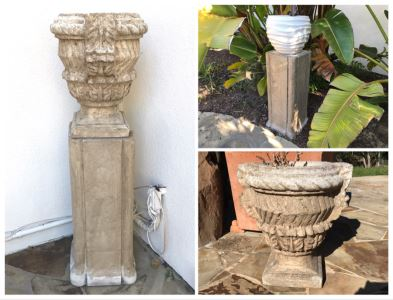 Pair Of Large Cast Cement Planters With Cement Pedestals - One Shown On Right Includes White Pot - Pot Is 18'W X 20'H - Pedestal Is 31'H