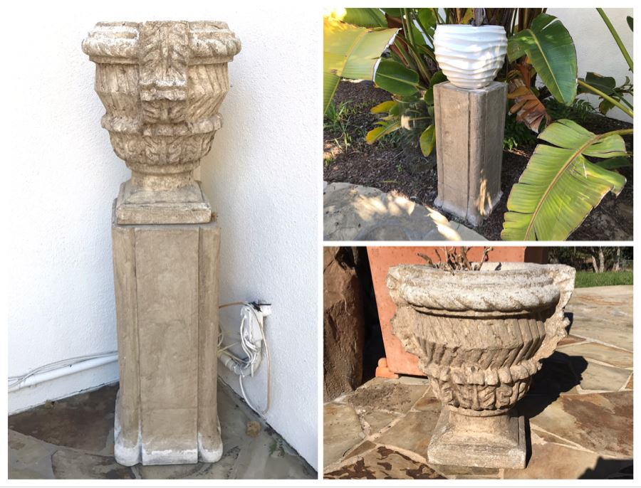 Pair Of Large Cast Cement Planters With Cement Pedestals - One Shown On Right Includes White Pot - Pot Is 18'W X 20'H - Pedestal Is 31'H [Photo 1]