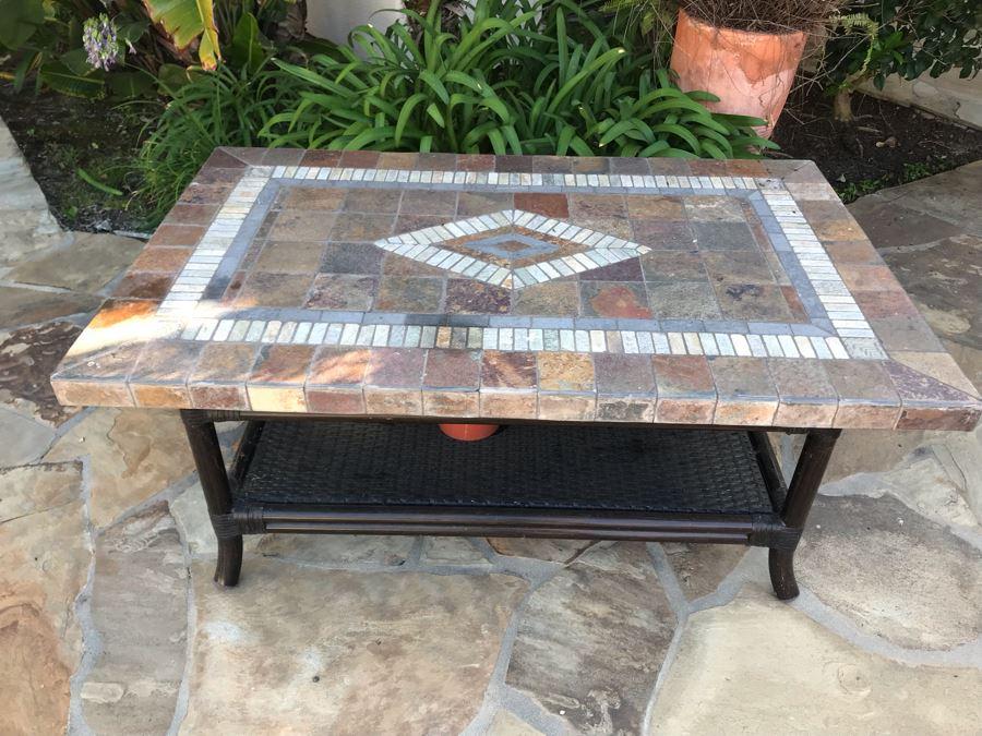 Outdoor Stone Mosiac 2-Tier Table 48' X 30' X 22'H [Photo 1]