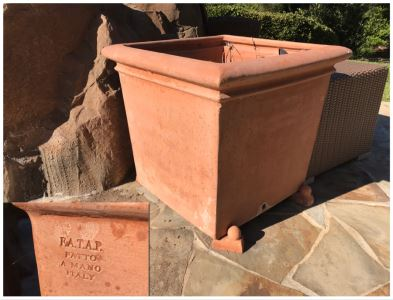 Pair Of Large Terracotta Planters Pots F.A.T.A.P. Fatto A Mano Italy 27.5'W X 26'H