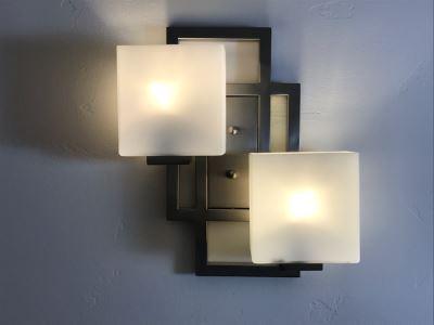 Pair Of Modern Metal Wall Sconces Light Fixtures