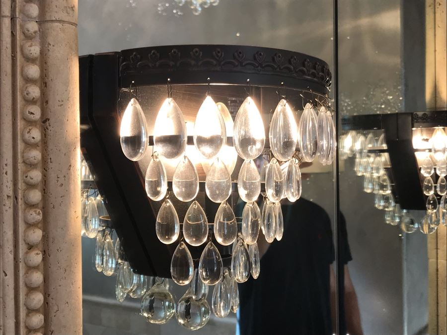 Pair Of Crytal Sconces Light Fixtures