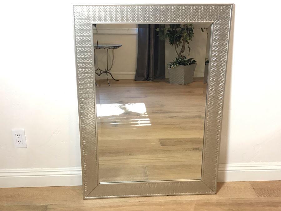Silver Tone Beveled Glass Wall Mirror 31' X 43' [Photo 1]