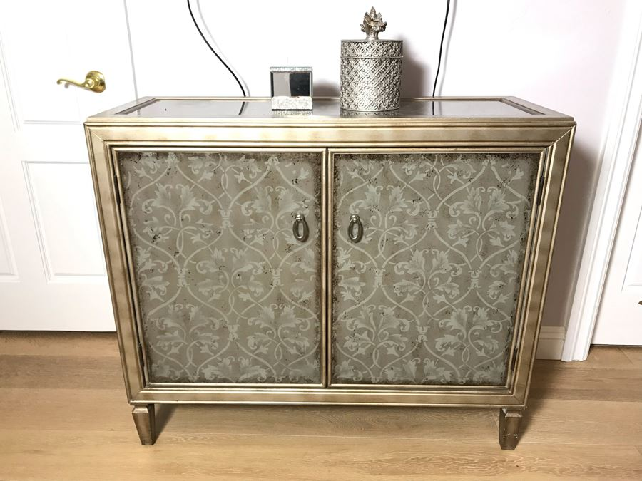 2-Door Contemporary Cabinet With Pair Of Decorative Boxes On Top [Photo 1]