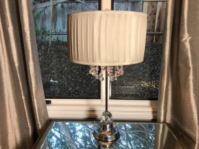 Contemporary Chrome And Crystal Table Lamp With Original Tags Retails $175