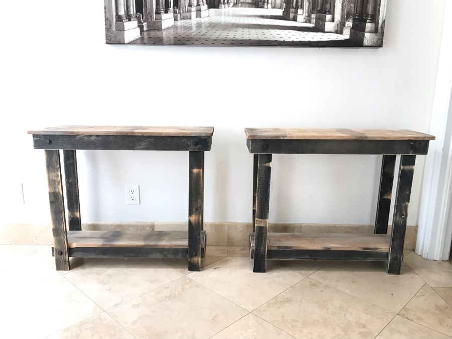 Pair Of Wooden Industrial 2-Level Side Tables 36'W X 11'D X 30'H Ea. [Photo 1]