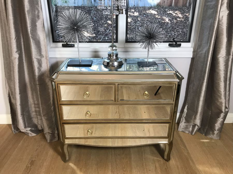 Contemporary Mirrored Chest Of Drawers Dresser (Missing 2 Drawer Pulls) 40'W X 17'D X 35'H [Photo 1]