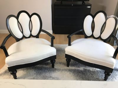 Pair Of Wooden Black Upholstered Armchairs - Some Staining On Fabric