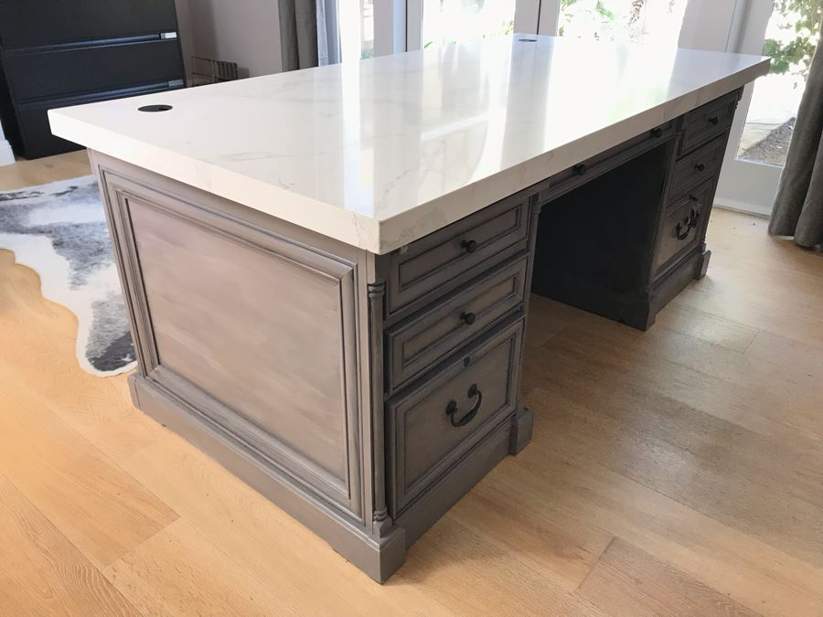 Stunning White Marble Top Grey Wooden Executive Desk With Lockable Drawers 76'W X 38.5'D X 31'H