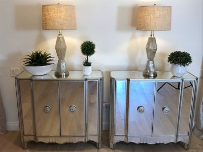 Mirrored Contemporary Side Cabinet Nightstands 40'W X 16'D X 36'H With Pair Of Glass Table Lamps And (3) Artificial Plants