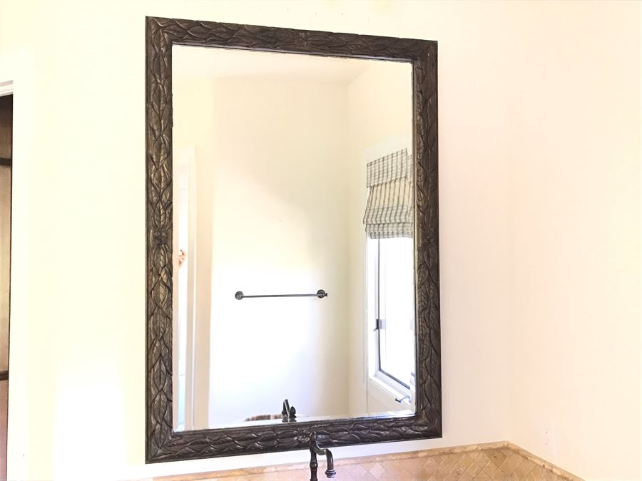 Beveled Glass Wall Mirror With Leaves Motif 41' X 59' [Photo 1]