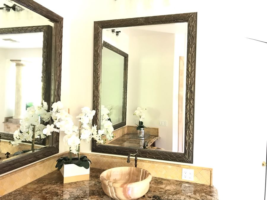 Beveled Glass Wall Mirror With Leaves Motif 44' X 59' [Photo 1]