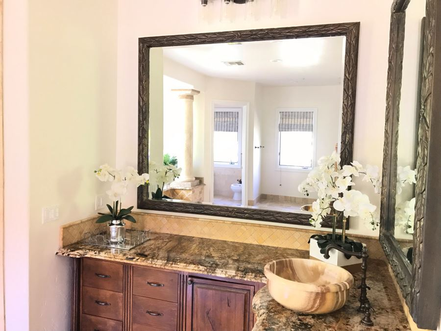 Beveled Glass Wall Mirror With Leaves Motif 71' X 59' [Photo 1]