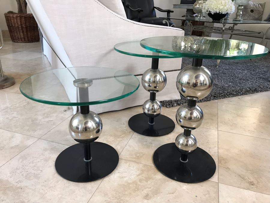 Set Of (3) Modern Chrome Ball And Glass Top Side Tables 18'W X 21.5' Tallest [Photo 1]
